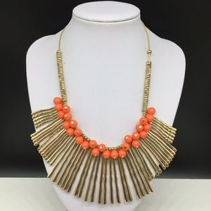 Erica Lyons Gold Tone Coral Branch Beaded Necklace